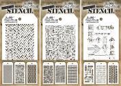 Tim Holtz - Mini Layering Stencils - Sets #13, #14, & #15 - 9 Mini Stencils - Herringbone, Countdown, Blocks, Scribbles, Burlap, Argyle, Arrows, Traveller & Treads