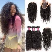 Longqi Beauty Brazilian Unprocessed Curly Virgin Human Hair Weave 3 Bundles with 1 piece Free Part Lace Top Closure 100% Human Hair