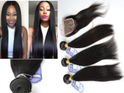 100 Unprocessed Straight Weave Brazilian Virgin Hair 3 Bundles With Free Part Lace Closure 4Pcs Lot Remy Human Hair Extensions Weft Natural Colour