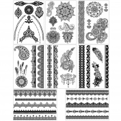 BMC 8 Sheet Set Ornate Lace Shaped Black Colour Temporary Body Art Tattoos