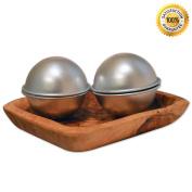 Metal Bath Bomb Mould - DIY - 2 Moulds (4 pieces) - 6.5cm Diameter - Premium Finish **Bonus** Bath Bomb Recipe Included!