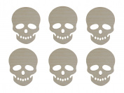 Skull Shape Unfinished Wood Cut Outs 7.6cm Inch 6 Pieces SKU-03