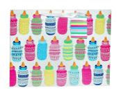 Glittered Baby Bottles Tote Gift Bag, Large, 5 x 25cm x 32cm
