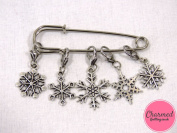 Snowflakes - Crochet Stitch Markers - Silver set of 5 - perfect gift or stocking filler for those who love Crochet