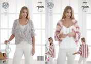 King Cole Womens Opium Knitting Pattern Ladies Shrug & Twisted Front Sweater