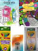 Adult Colouring Book Set (2 books) with 24 Crayola coloured pencils, sharpener and pencil case