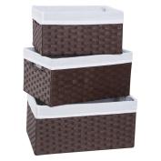 Redmon 3-Piece Basket Storage Set, Espresso/White