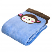Cosy Fleece Baby/Toddler Blanket with Monkey Face, Blue