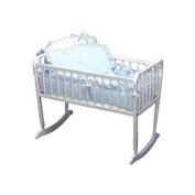 bkb Pretty Pique Cradle Bedding, Blue, 38cm x 80cm