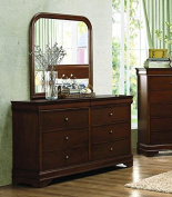 Abbeville 6 Drawer Dresser & Mirror in Brown Cherry - Dresser Only