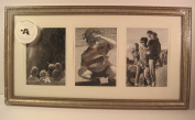 Pewter Essex 25cm x 50cm Wood and Glass, 3 Picture Frame