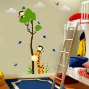 Ainest Monkey Giraffe Tree Height Chart Wall Sticker Decal Kids Baby Nursery Room Vinyl
