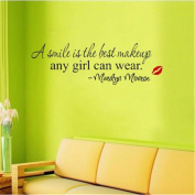 CH A Smile Is The Best Makeup Any Girl Can Wear Home Wall Sticker Quote Art
