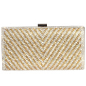 Digabi V-shaped pattern Rectangle Shape women Crystal Evening Clutch Bags