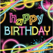 "Club Pack of 192 Multi-Coloured ""Happy Birthday"" Glow Party 2-Ply Lunch Napkins"