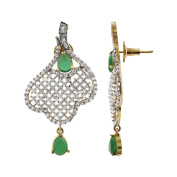Handmade Designer Two Tone Green Colour Simulated Beads and Clear Cubic Zirconia Post Back Earrings