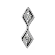 Stainless Steel Double Diamond Shape Charm Pendant with Cz