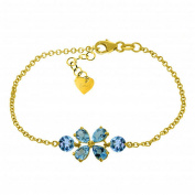 3.15 Carat 14K Solid Gold Bracelet Natural Blue Topaz