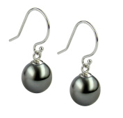 14K White Gold Earrings with Beautiful Natural Colour Tahitian Cultured Pearls Drop Shaped 8-9mm