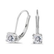 14k White Gold Round White Topaz Lever-back Earrings