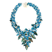 Blue Floral Bouquet Statement Stone and Shell Tapered Necklace