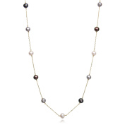 10k Yellow Gold Tincup Round Black, Silver and White Cultured Freshwater Pearl Necklace