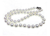 Jiayipearl Women's AAA 17 inch 9.5-10.5mm white freshwater cultured pearl necklace 14k white gold clasp