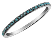 Blue Diamond Band 1/10 Carat (ctw) in 10K White Gold