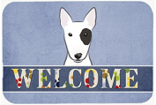 "Caroline's Treasures BB1395CMT Bull Terrier Welcome Kitchen or Bath Mat, 20 by 30"", Multicolor"