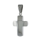 Stainless Steel Curved Cross Charm Pendant