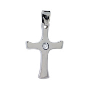 Stainless Steel Cross Charm Pendant with Cz