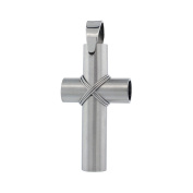 Stainless Steel Large Wire Wrapped Tube Cross Charm Pendant