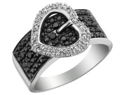 White and Black Diamond Heart Buckle Ring 3/4 Carat (ctw) in Sterling Silver