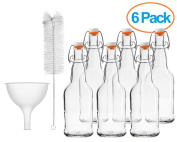 Chef's Star CASE OF 6 - 470ml EASY CAP Beer Bottles with Funnel and Cleaning Brush - CLEAR