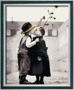 Diy oil painting, paint by number kit- Children's kiss 16*50cm .