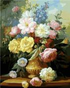 Diy oil painting, paint by number kit- Elegant Flowers 16*50cm .
