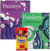 Adult Colouring Gift Set of 2 Paisleys Colouring Books with 24 Pre-Sharpened Coloured Pencils