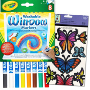 Crayola Window Markers for Glass with Bonus Butterfly Window Clings