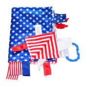Sensory Baby Tag Blanket, Military USA Flag Theme Blanket 14x18 Lovey