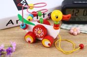 Baby Wooden Educational Game Toy Kids Children Duckling Trailer Mini Around Bead
