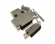 DB26 Male D-Sub connector w/ Two Piece Backshells Hoods Metal