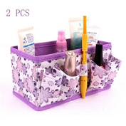 Bestga 2 PCS Makeup Cosmetic Box Bag Non-woven Fabrics Bright Organiser Multifunction Foldable Square Makeup Stationary Storage Container Case - Purple