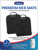 Premium Kick Mats (2 Pack) by LYFESMART | Car Kick Mat provides universal car seat protection from dirty foot prints, scuffs marks and stains | Recommended for active kids in the back seat