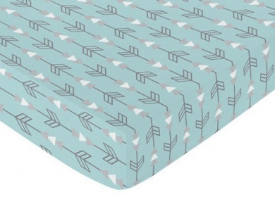 Fitted Crib Sheet for Turquoise Blue and Grey Earth and Sky Baby/Toddler Bedding - Arrows Print