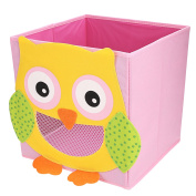 NEWSTYLE Foldable Kids' Toy Storage Bin Box - Cartoon Children Toys Chest and Closet Organiser - Simling Owl