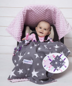 Maxi Lexi Baby Car Seat Covers - Carseat Canopy, Baby Blanket And 2 Baby Security Blankets / Car Seat Canopy With Soft Pink Dot Minky / Best For All Baby Infant Car Seats / Baby Shower Gift /Newborn gift'
