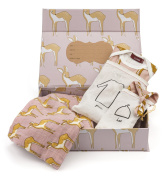 Milkbarn Organic Newborn Gown, Hat and Swaddle Blanket Keepsake Set, Rose Deer