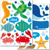 """Wandkings wall stickers """"Sweet and Colourful Sea Creatures"""" Sticker Set - more than 40 stickers on 2 A4 sheets"""