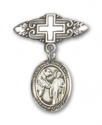 ReligiousObsession's Sterling Silver Baby Badge with St. Columbanus Charm and Badge Pin with Cross