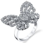 Sterling Silver 925 Mariah Carey Butterly Ring With Cubic Zirconia CZ